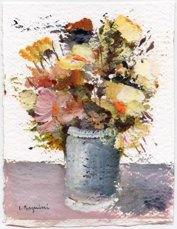 Quadro di Luciano Pasquini Vaso di fiori primaverili  - acrilico carta ad alta grammatura