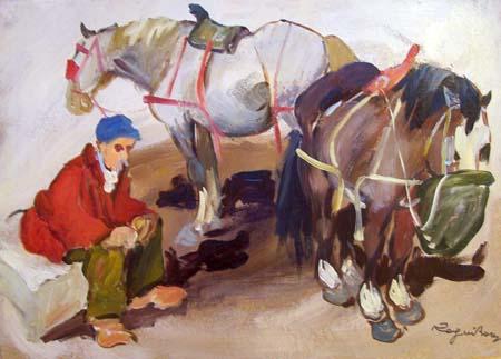 Quadro di Basso Ragni Cavalli alla biada - olio tavola