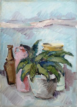 Quadro di Enzo Cangi Composizione di vasi - olio tela