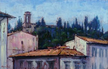 Quadro di Mario Minarini Monte Oliveto con la chiesa di S. Bartolomeo - olio tavola