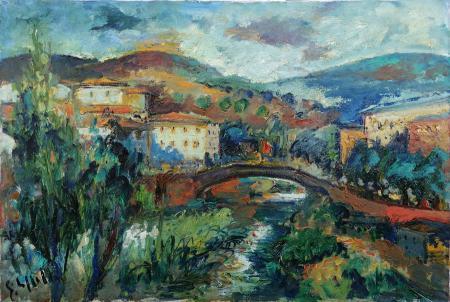 Quadro di Emanuele Cappello Paesaggio toscano - olio tela