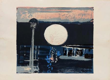 Quadro di Bruno Saetti Notturno - litografia carta