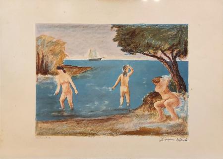 Quadro di Giovanni March Marina con nudo - litografia carta