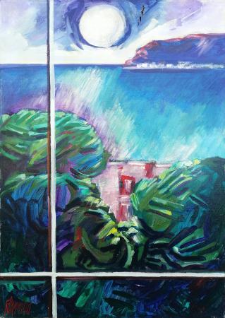 Quadro di Natale Filannino Marina con Luna alla finestra - olio tela