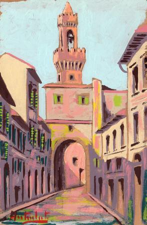 Quadro di Anton Berti Piazza Signoria - Firenze - Pittori contemporanei galleria Firenze Art