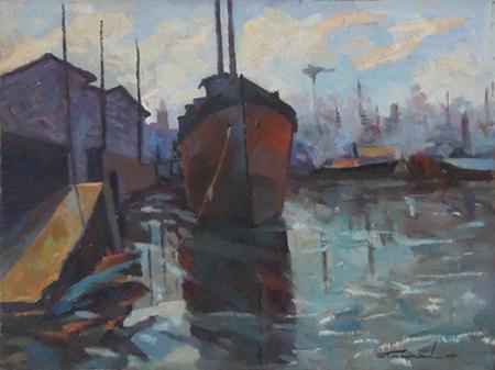 Quadro di Ernesto Scudiero Nave in cantiere a Livorno  - olio tavola