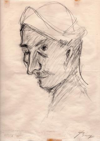 Quadro di firma Illeggibile Ritratto di uomo - grafite carta gialla