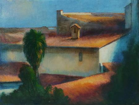 Art work by Luigi Falai Palma in giardino Firenze - oil canvas