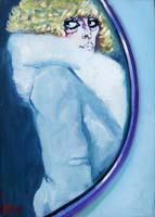Quadro di Natale Filannino - Signora in pelliccia olio tela