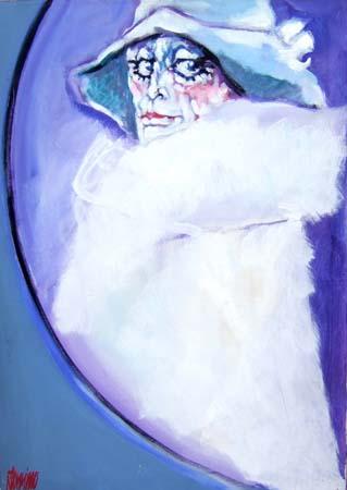 Quadro di Natale Filannino Signora con cappello - olio tela