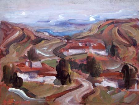 Quadro di Giorgio Polykratis Paesaggio - olio tavola
