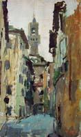 Quadro di Gino Tili  Via Vinegia con veduta di Palazzo Vecchio