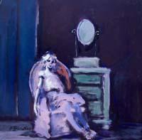 Quadro di Umberto Bianchini - Interno con figura mista tavola