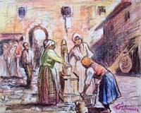 Quadro di Giuliano Palcucci - Alla fontana matita carta