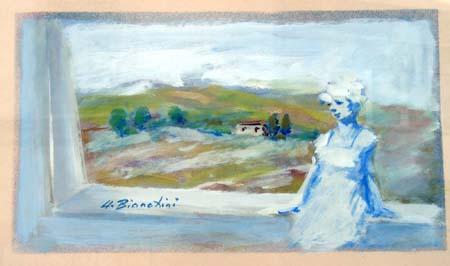 Quadro di Umberto Bianchini Dal balcone - tempera carta