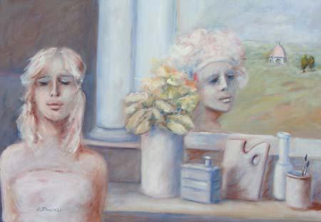 Art work by Umberto Bianchini Balcone fiorentino - mixed canvas
