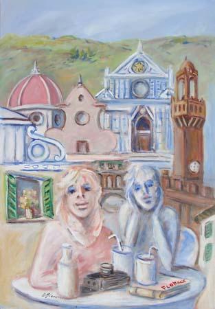 Quadro di Umberto Bianchini Turisti in riposo - olio tela