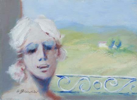 Quadro di Umberto Bianchini Pesaggio dal balcone - Pittori contemporanei galleria Firenze Art