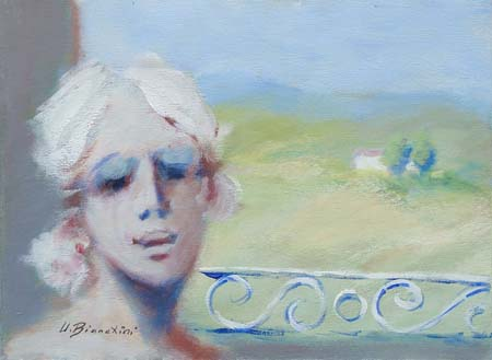 Quadro di Umberto Bianchini Pesaggio dal balcone - olio tela
