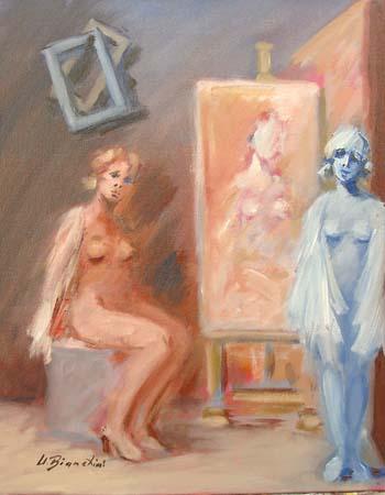 Quadro di Umberto Bianchini Attesa - olio tela