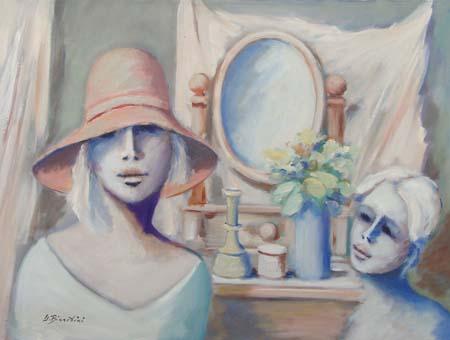 Quadro di Umberto Bianchini Composizione con figure - olio tela
