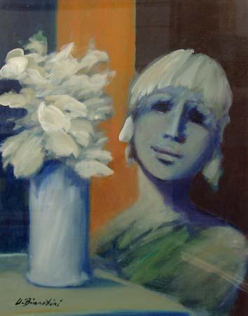 Quadro di Umberto Bianchini Vaso di fiori e figura - olio tela