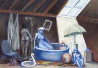 Quadro di Umberto Bianchini - Soffitta estiva olio tela