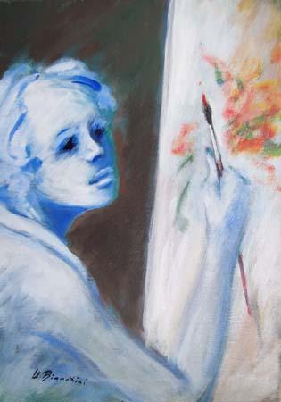 Quadro di Umberto Bianchini La pittrice - mista tela
