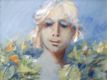 Quadro di Umberto Bianchini Abbraccio floreale - olio tela