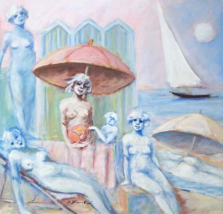 Quadro di Umberto Bianchini Scena estiva - mista tela