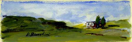 Quadro di Umberto Bianchini Magia verde, tempera su carta 10 x 25 | FirenzeArt Galleria d'arte