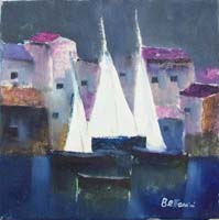 Work of Lido Bettarini - Marina con vele oil canvas