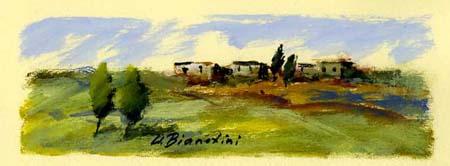 Quadro di Umberto Bianchini Gruppo di case, tempera su carta 10 x 25 | FirenzeArt Galleria d'arte