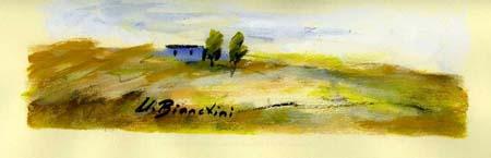 Quadro di Umberto Bianchini Casetta azzurra - tempera carta