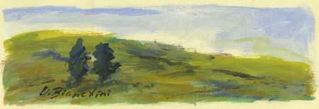 Quadro di Umberto Bianchini Paesaggio, tempera su carta 10 x 25 | FirenzeArt Galleria d'arte