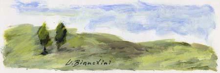 Quadro di Umberto Bianchini Cipressi - tempera carta