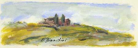 Quadro di Umberto Bianchini Veduta, tempera su carta 10 x 25 | FirenzeArt Galleria d'arte