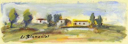 Quadro di Umberto Bianchini Campagna, tempera su carta 10 x 25 | FirenzeArt Galleria d'arte