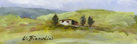 Quadro di Umberto Bianchini Casetta nel verde - tempera cartone