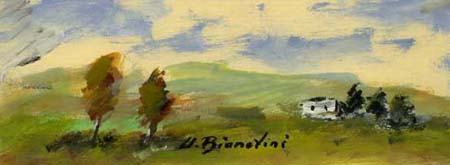 Quadro di Umberto Bianchini Paesaggio - tempera cartone
