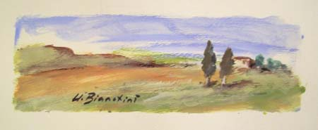Art work by Umberto Bianchini Colline toscane - varnish paper