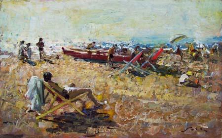 Quadro di Giulio Salti Scena di spiaggia - olio tavola