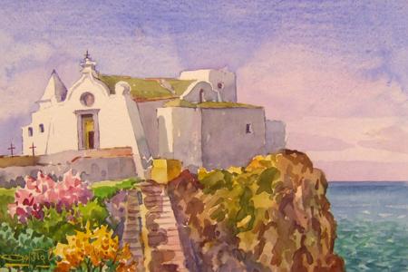 Quadro di Giovanni Ospitali Ischia Chiesa del Soccorso - acquerello carta