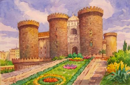 Art work by Giovanni Ospitali Napoli Castelnuovo - watercolor paper