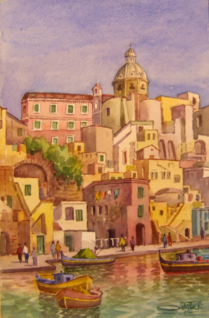 Quadro di Giovanni Ospitali Procida - acquerello carta