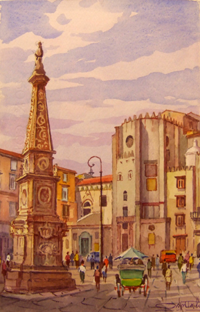 Art work by Giovanni Ospitali Napoli Piazza S.Domenico - watercolor paper