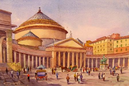 Art work by Giovanni Ospitali Napoli Piazza Plebiscito - watercolor paper
