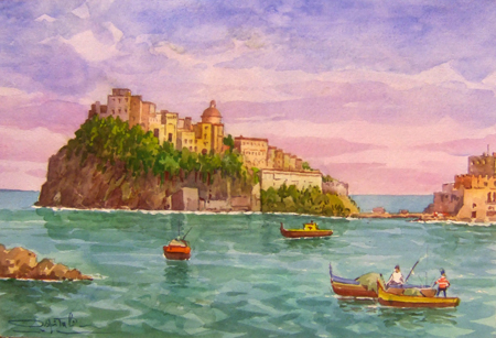 Quadro di Giovanni Ospitali Ischia - acquerello carta