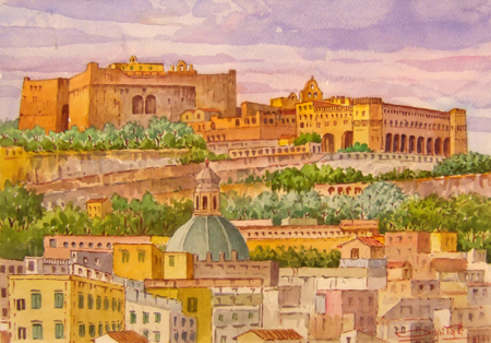 Art work by Giovanni Ospitali Napoli Panorama con Castel S.Elmo e la Certosa - watercolor paper