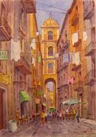 Quadro di Giovanni Ospitali - Vecchia Napoli Strada di Pastori e campanile S.Gregorio  acquerello carta